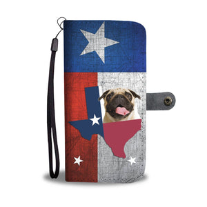 Lovely Pug Print Wallet Case- Free Shipping-TX State