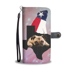 Cute Pug Dog On Pink Print Wallet Case-Free Shipping-TX State