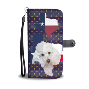 Cute Poodle Dog Print Wallet Case-Free Shipping-TX State