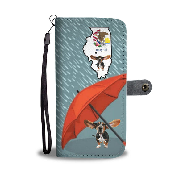 Cute Basset Hound Print Wallet Case-Free Shipping-IL State