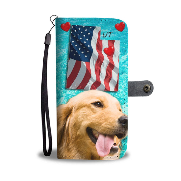 Cute Golden Retriever Print Wallet Case- Free Shipping-UT State
