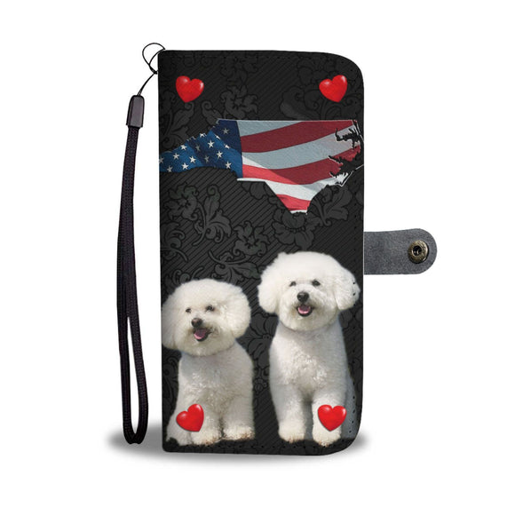 Bichon Frise On Black Print Wallet Case-Free Shipping-NC State