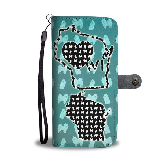American Eskimo Pattern Print Wallet Case-Free Shipping-WI State