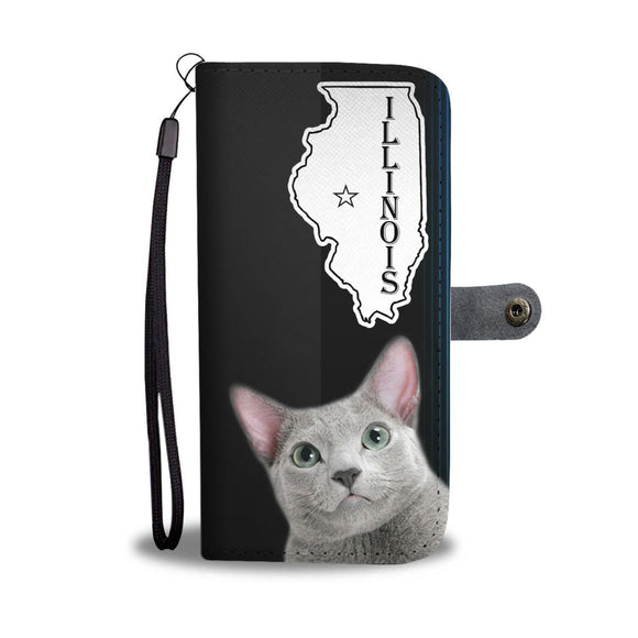 Russian Blue Cat Print Wallet Case-Free Shipping-IL State