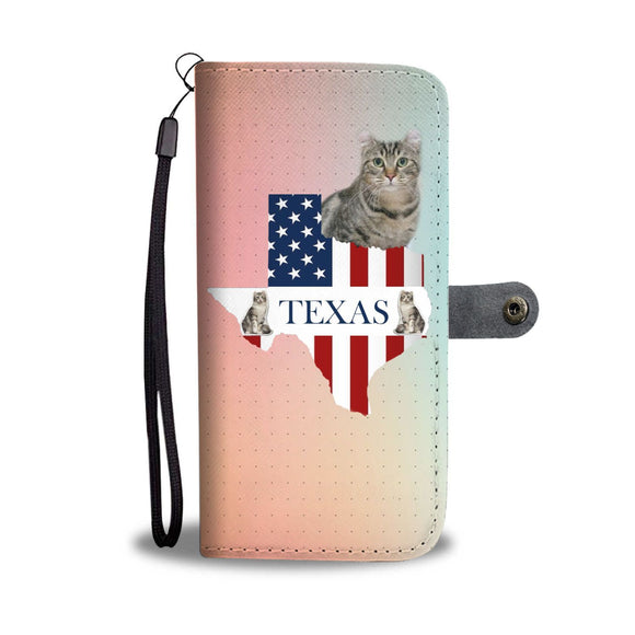 American Curl Cat Print Wallet Case-Free Shipping-TX State