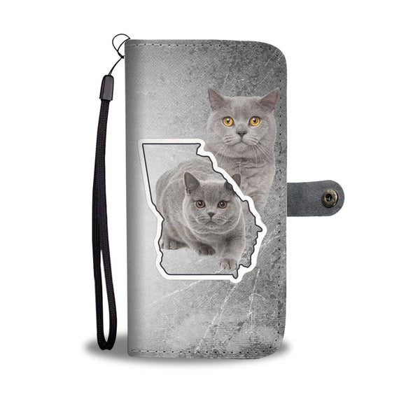 British Shorthair Cat Print Wallet Case-Free Shipping-GA State