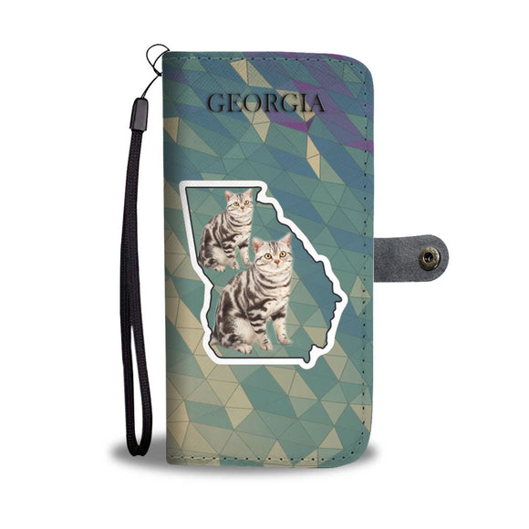 American Shorthair Cat Print Wallet Case-Free Shipping-GA State