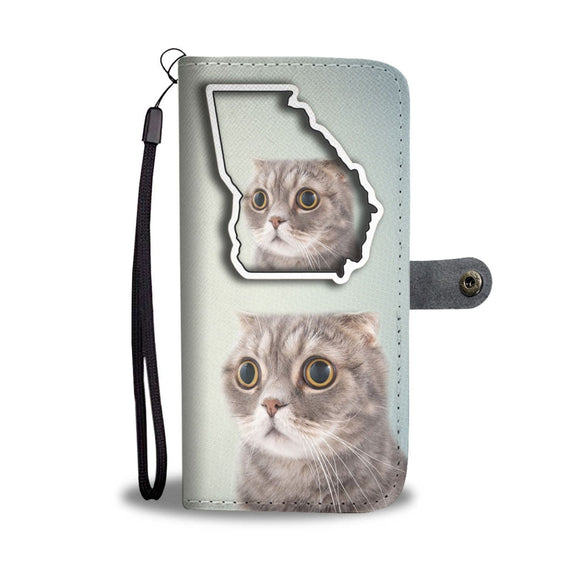 Scottish Fold Cat Print Wallet Case-Free Shipping-GA State