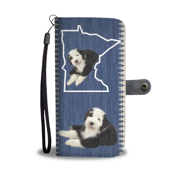 Old English Sheepdog Print Wallet Case-Free Shipping-MN State
