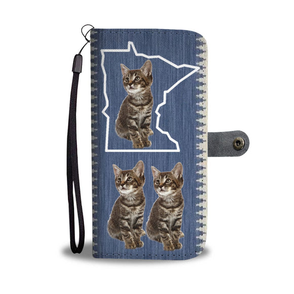 Manx Cat Print Wallet Case-Free Shipping-MN State