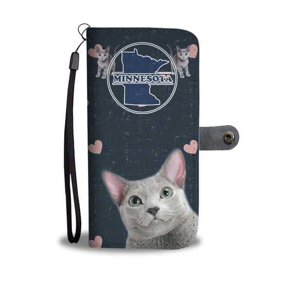 Russian Blue Cat Print Wallet Case-Free Shipping-MN State