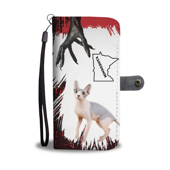 Sphynx Cat Print Wallet Case-Free Shipping-MN State