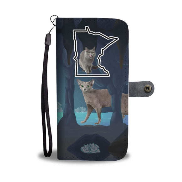 Amazing Russian Blue Cat Print Wallet Case-Free Shipping-MN State