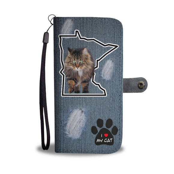 Norwegian Forest cat Print Wallet Case-Free Shipping-MN State