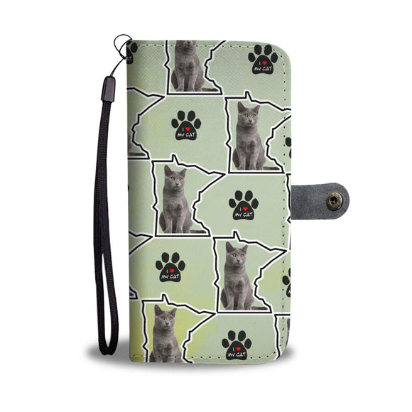 Chartreux Cat Print Wallet Case-Free Shipping-MN State
