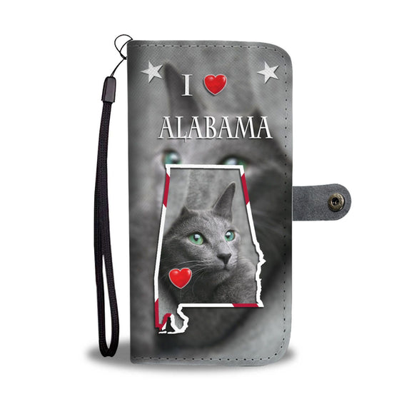Russian Blue Cat Print Wallet Case-Free Shipping-AL State