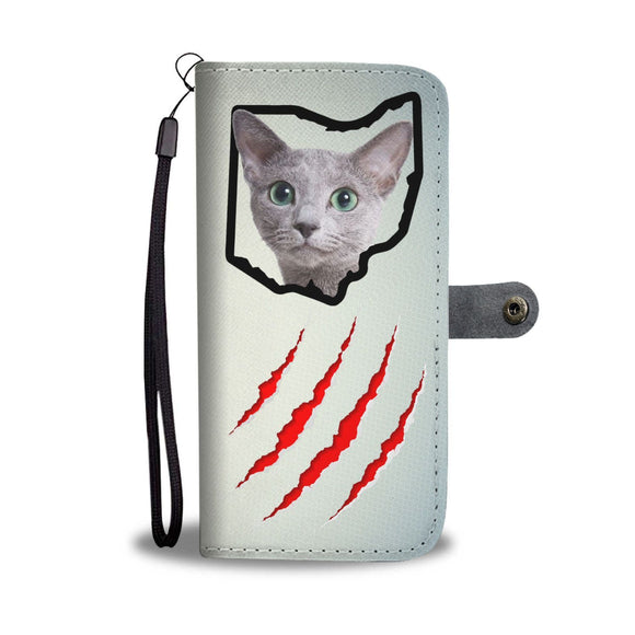 Russian Blue Cat Print Wallet Case-Free Shipping-OH State