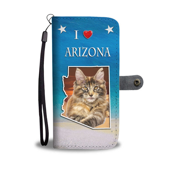 Maine Coon Cat Print Wallet Case-Free Shipping-AZ State