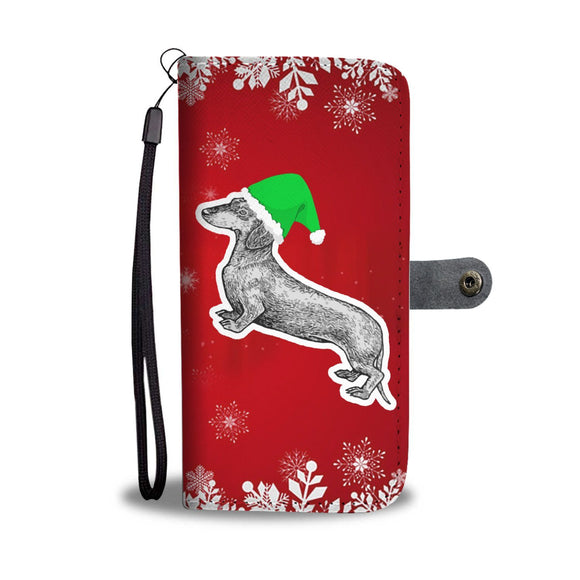 Dachshund Dog Red Christmas Print Wallet Case-Free Shipping