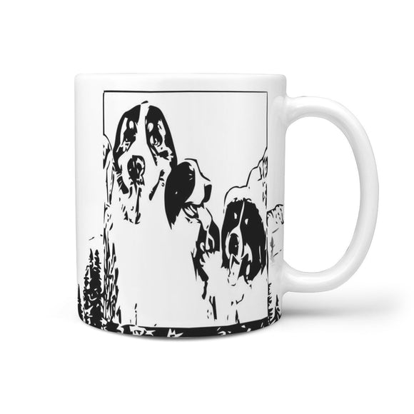 Bernese Mountain Dog Art Mount Rushmore Print 360 White Mug