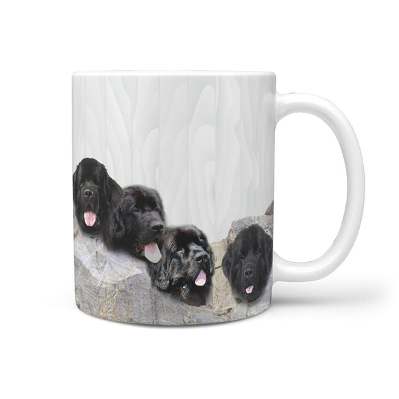 Newfoundland Dog Mount Rushmore Print 360 White Mug