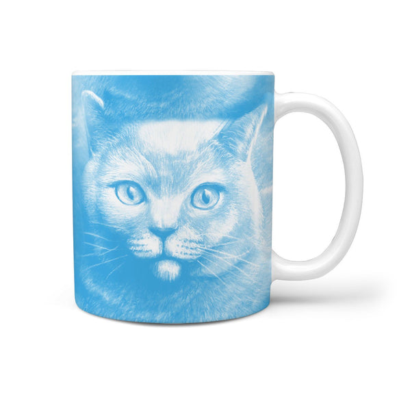Amazing Russian Blue Cat Print 360 White Mug