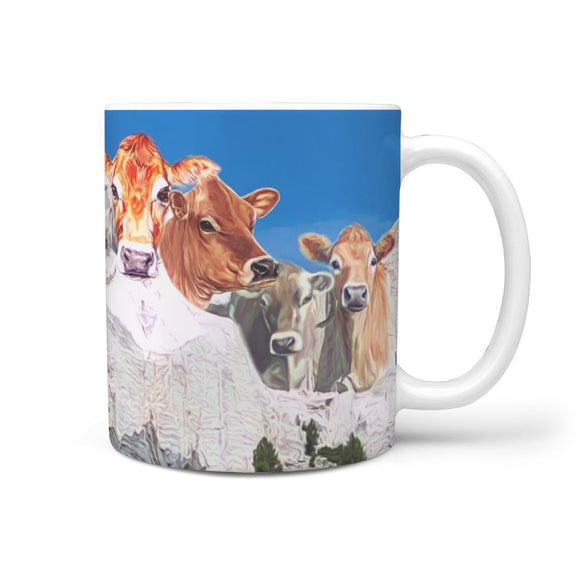 Cute Jersey Cattle (Cow) Mount Rushmore Print 360 White Mug