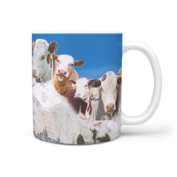 Hereford Cattle (Cow) Mount Rushmore Print 360 White Mug