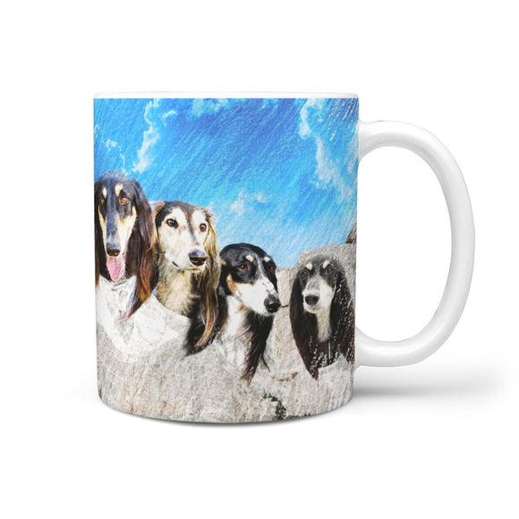 Black Saluki Dog Art Mount Rushmore Print 360 Mug