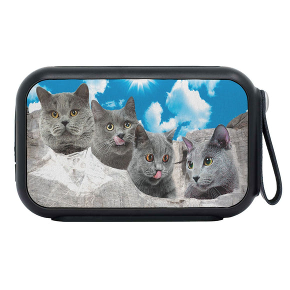 Russian Blue Cat On Mount Rushmore Print Bluetooth Speaker