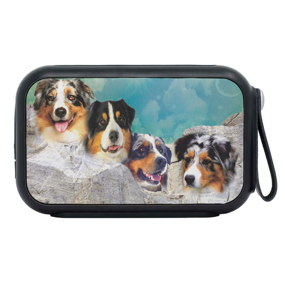 Australian Shepherd Dog On Mount Rushmore Print Bluetooth Speaker