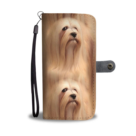 Cute Lhasa Apso Dog Print Wallet Case-Free Shipping