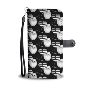 Pomeranian Dog Black White Patterns Print Wallet Case-Free Shipping (For Pomeranian Lovers)