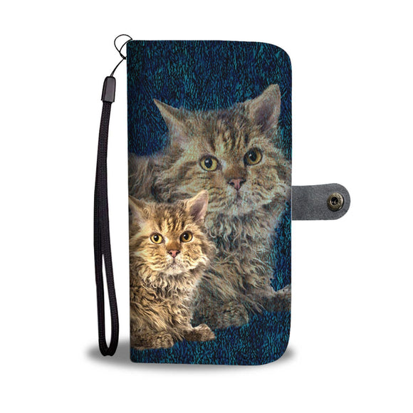 Lovely Selkirk Rex Cat Print Wallet Case-Free Shipping