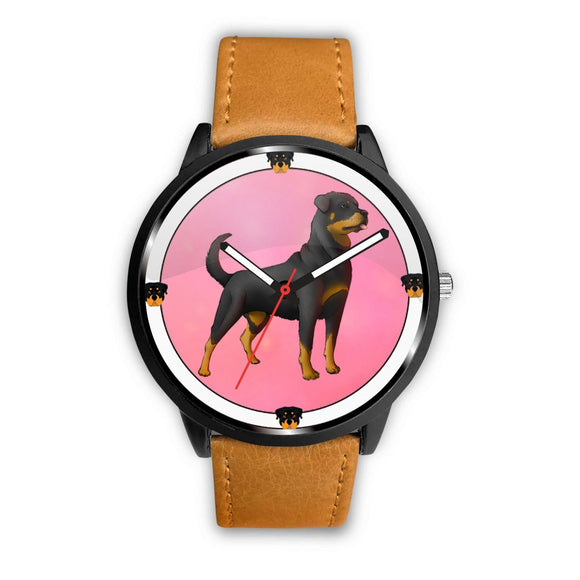 Rottweiler Dog On Pink Print Wrist watch - Free Shipping