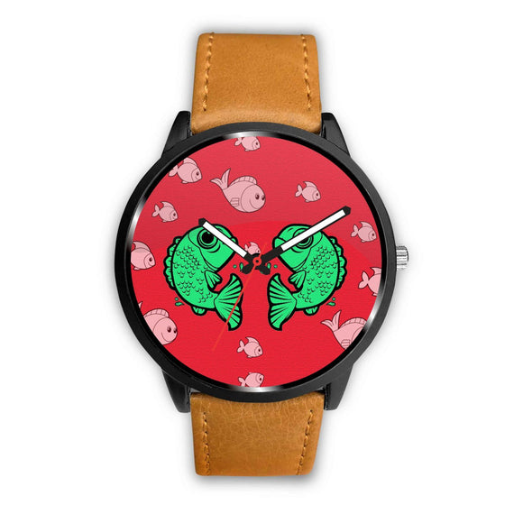 Fish Print On Red Wrist Watch-Free Shipping