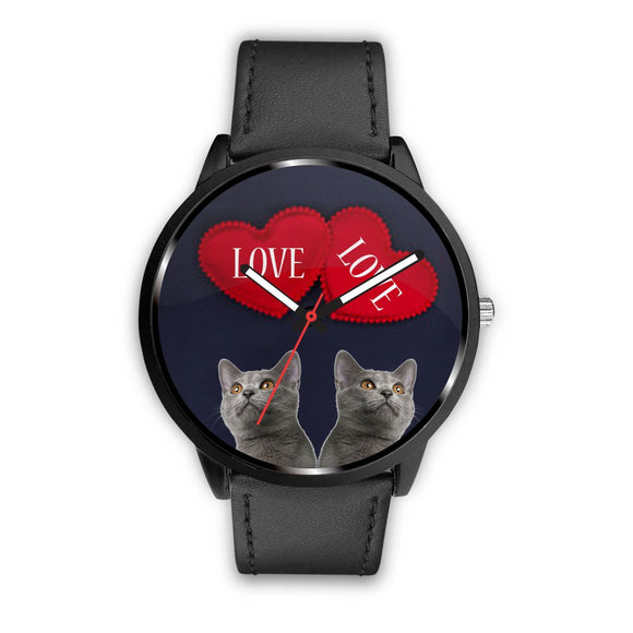 Russian Blue Cat Love Print Wrist Watch-Free Shipping