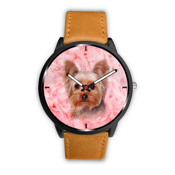 Yorkshire Terrier On Pink Print Wrist Watch- Free Shipping