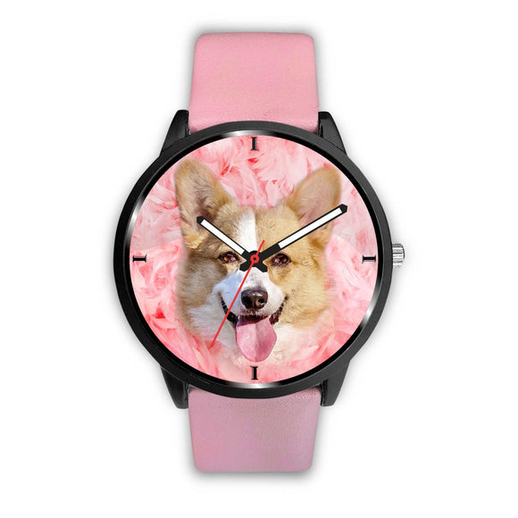 Pembroke Welsh Corgi On Pink Print Wrist Watch - Free Shipping