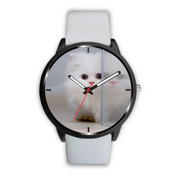 Cute White Persian Cat Print Wrist Watch-Free Shipping