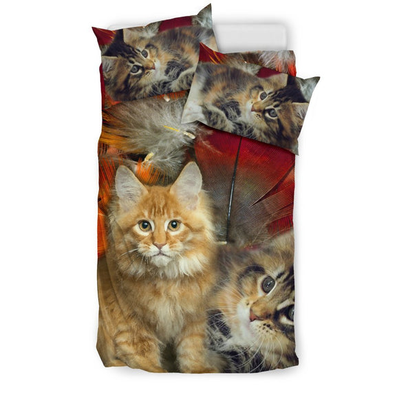 Cute Maine Coon Print Bedding Set- Free Shipping