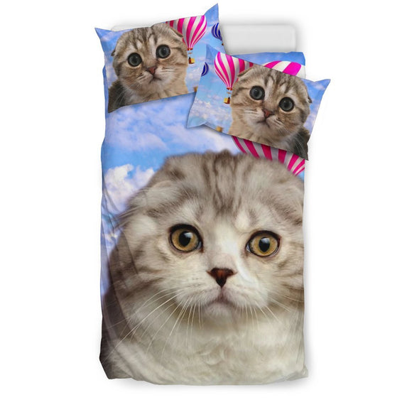 Scottish Fold Cat With Air Balloon Print Bedding Set- Free Shipping