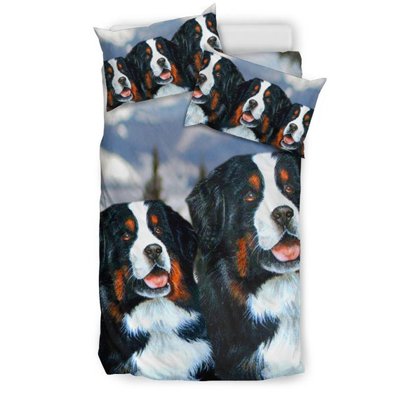 Amazing Bernese Mountain Dog Art Print Bedding Set-Free Shipping