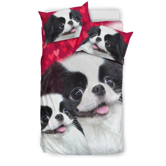 Japanese Chin Dog Art On Red Print Bedding Set-Free Shipping