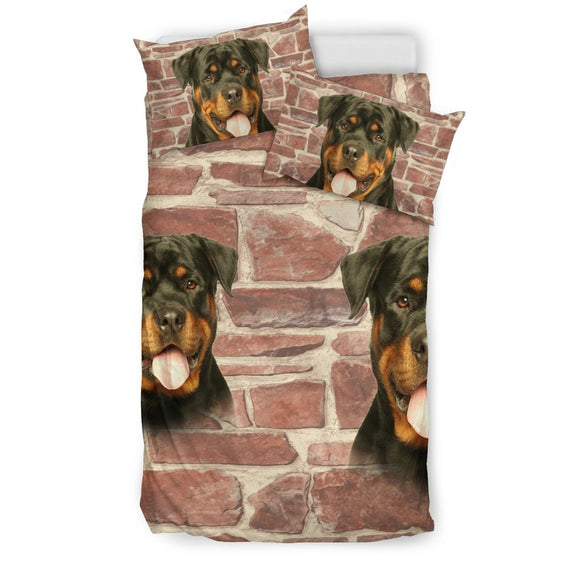 Laughing Rottweiler Dog Print Bedding Set- Free Shipping
