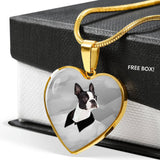 Boston Terrier Print Heart Charm Luxury Necklace -Free Shipping