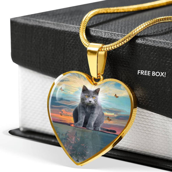 Cute Chartreux Cat Print Heart Pendant Luxury Necklace-Free Shipping