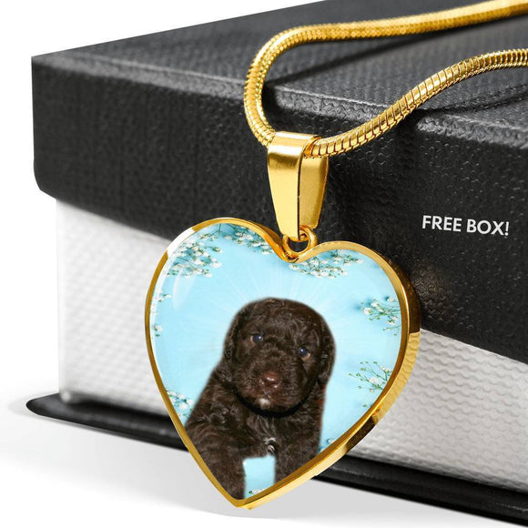 Spanish Water Dog Print Heart Pendant Luxury Necklace-Free Shipping