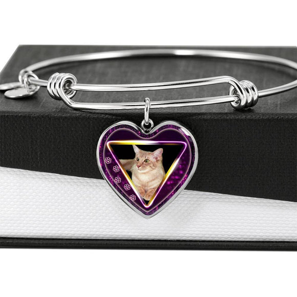 Javanese Cat Print Heart Pendant Bangle-Free Shipping