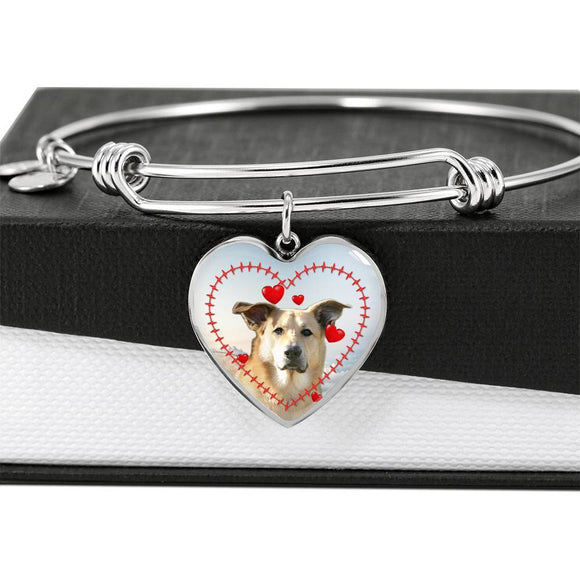 Cute Chinook Print Luxury Heart Charm Bangle-Free Shipping